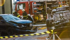Firefigters at a car accident scene