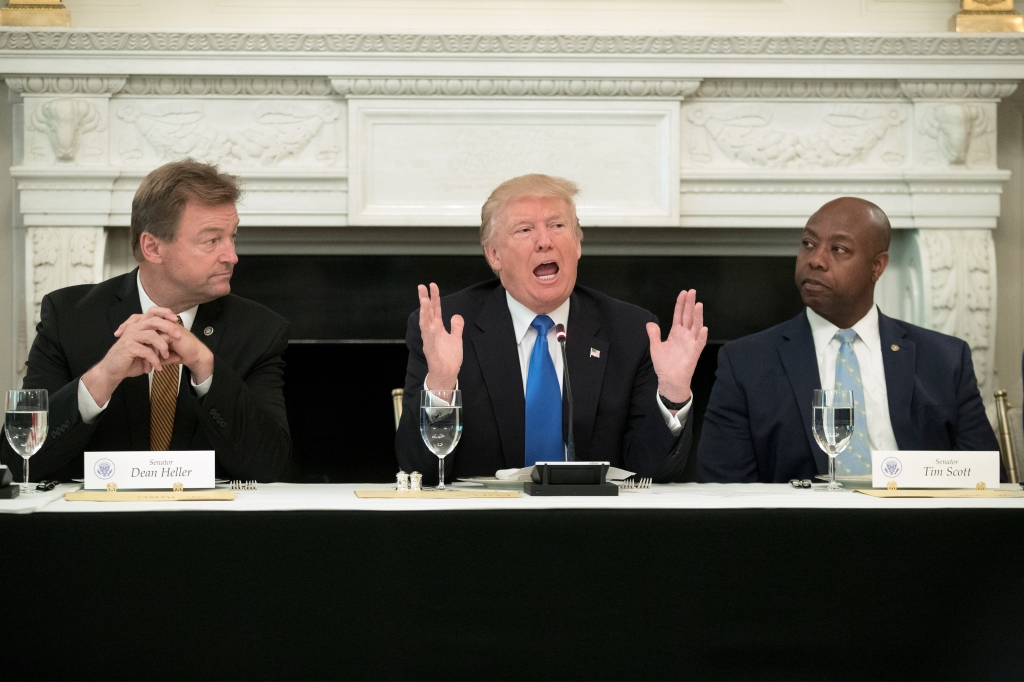 U.S. President Donald Trump Hosts Members of the U.S. Congress at the White House