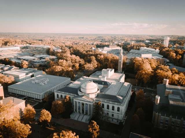 Aerial shot of UNC Campus