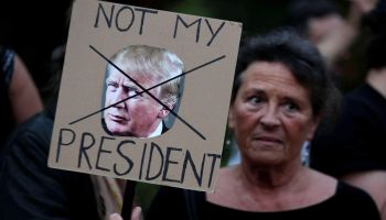 Demonstrators gather in Rome, Italy to protest against the visit of U.S. President Donald Trump