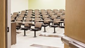 Seats in empty lecture hall