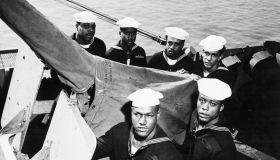 Heroic Black Sailors Posing with Gun