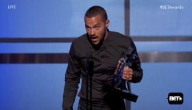 Jesse Williams accepting the 'Humanitarian Award' at the BET Awards as seen on BET