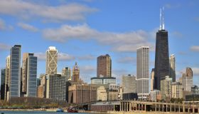 Chicago City Skyline Seen from Navy Pier on Lake Michigan, Chicago, Illinois, USA