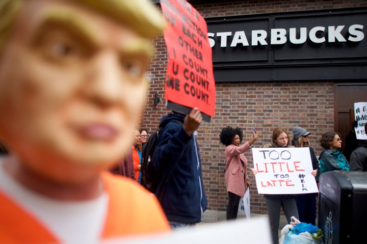 Scenes From The Demonstration Against Racism At Starbucks