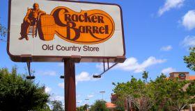 Cracker Barrel Restaurant sign.
