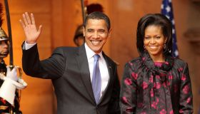 President Obama and his wife welcoming ceremony President Sarkozy and his wife in Strasbourg at Palais Rohan.