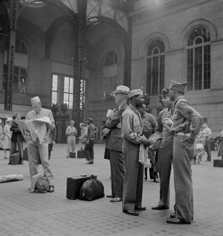 Soldiers Waiting for Train, Pennsylvania Station, New York City, New York