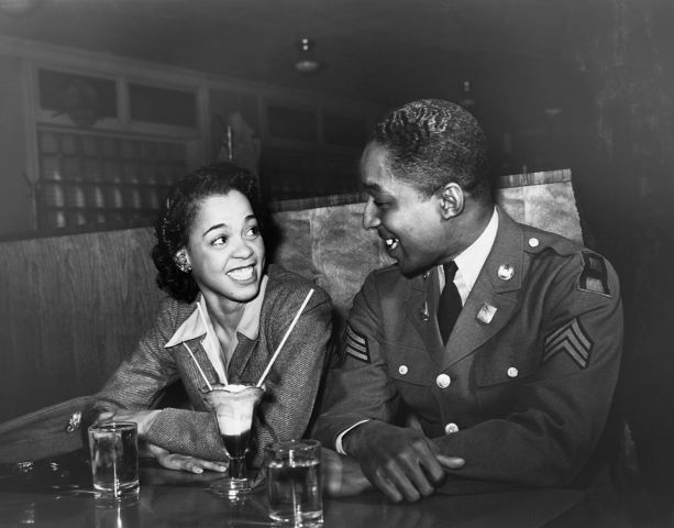 Wartime Couple Sharing a Soda