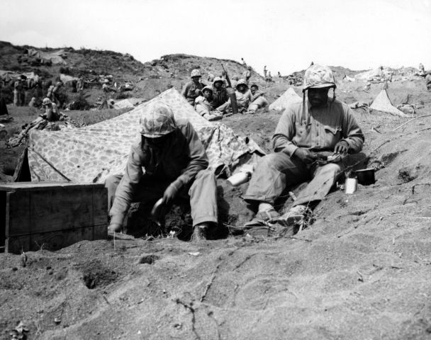 Segregated Black Marines on Iwo Jima