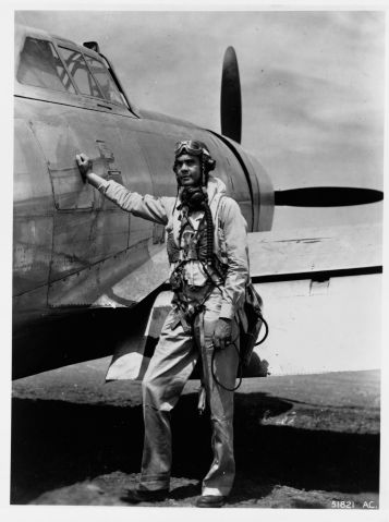 Benjamin O. Davis Next to P-47 Thunderbolt