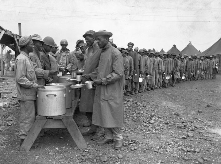 Black Military Engineers Line For Lunch