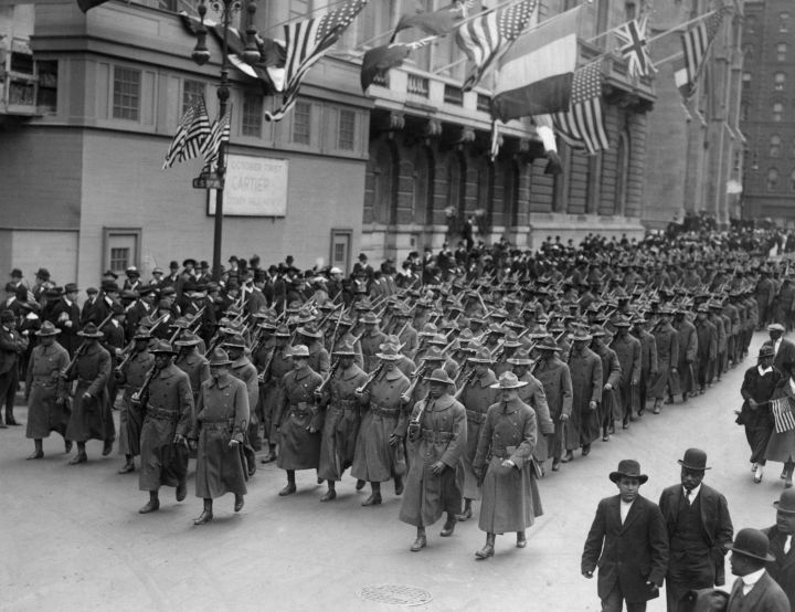 African American Troops Marching Up Fifth Avenue