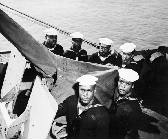 Heroic Black Sailors Posing with Gun