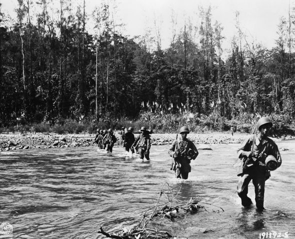 American Soldiers Crossing a River