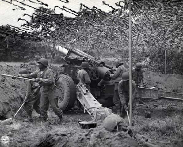 Black Troops Working Howitzer