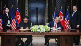 U.S. President Trump meets North Korean Leader Kim Jong-un In Singapore