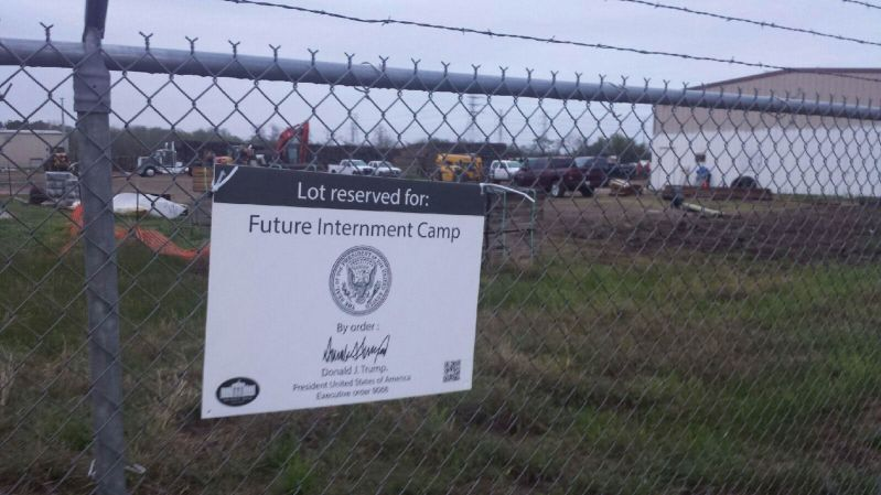Internment camp signs appear in US Cities.