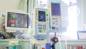 After subarachnoid haemorrhage surgery. Medical equipment in a intensive care unit.