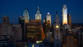 Skyline with skyscrapers at dusk, on the left the Liberty Place complex, Philadelphia, Pennsylvania, United States of America