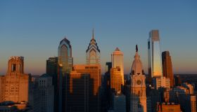Skyline with skyscrapers at dawn, on the left the Liberty Place complex, Philadelphia, Pennsylvania, United States of America