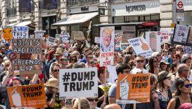 Demonstrators Protest Trump Visit
