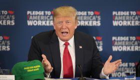 President Trump Attends Workforce Development Roundtable In Iowa