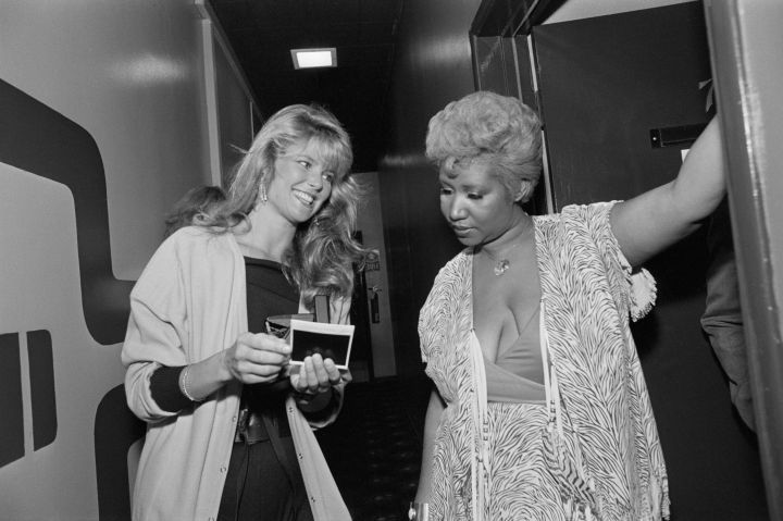 Christie Brinkley Getting Autograph From Aretha Franklin