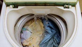 High Angle View Of Laundry In Washing Machine