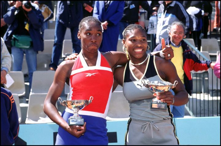 Sister act by Venus and Serena Williams at the 1999 French tennis open.