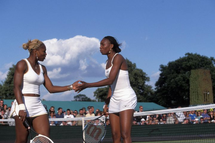 VENUS WILLIAMS and SERENA WILLIAMS, Ladies Doubles, 2002 Wimbledon Tennis Championships, 010627.