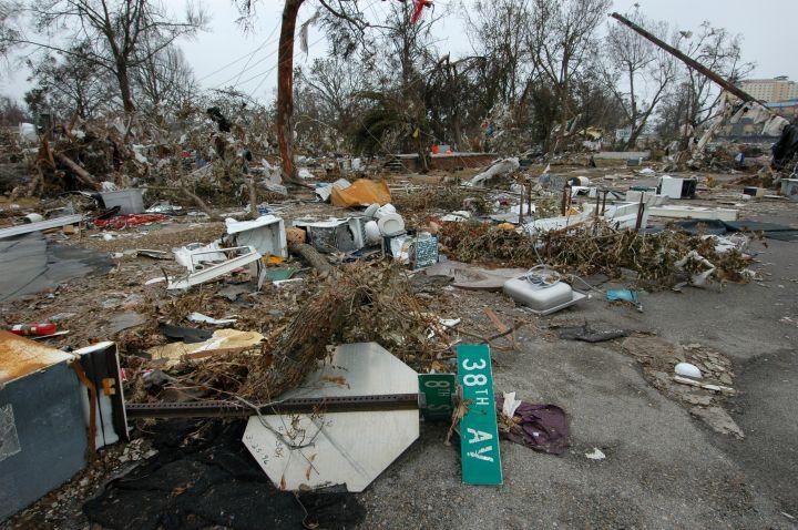 The aftermath of Hurricane Katrina.