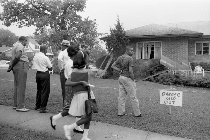 Outside Arthur Shores' Bombed Home