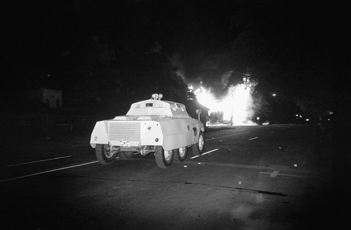 Police Truck Moving Toward Fire
