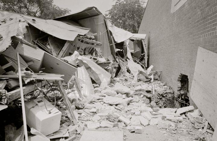 Bomb-damaged trailers at the Gaston Motel, Birmingham, Alabama