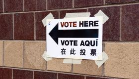 A direction sign on where to vote from seen during the...