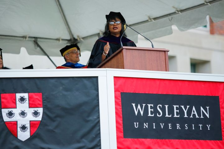 Hill addresses graduates at the Wesleyan Commencement Ceremony in 2018