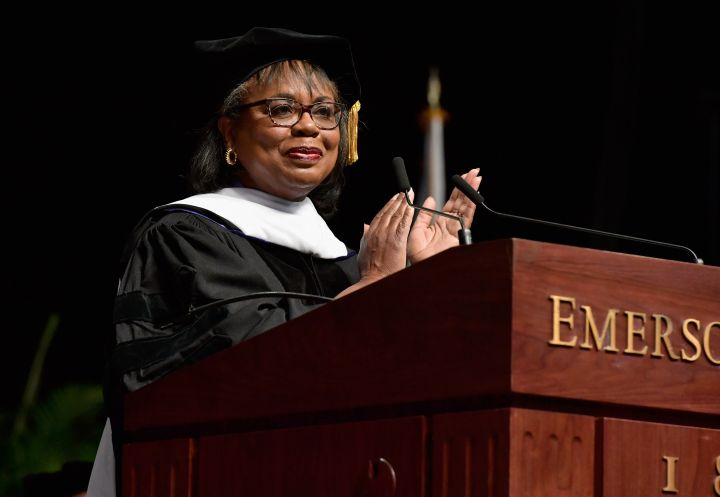 Hill talks with graduates at the 2017 Emerson College Commencement