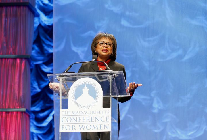 Hill addresses the crowd at the Massachusetts Conference For Women in 2016