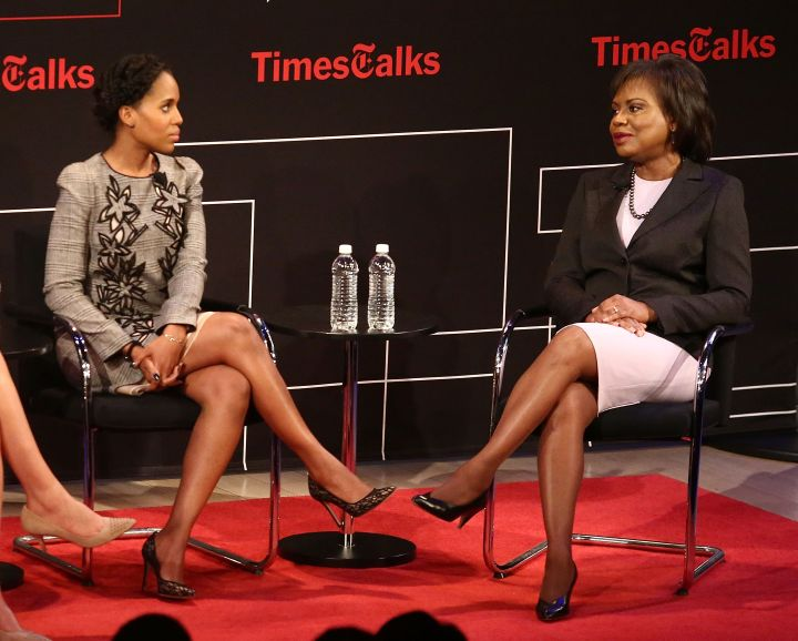 """Hill talks with Kerry Washington during a New York Times """"TimesTalks"""" event in 2016"""