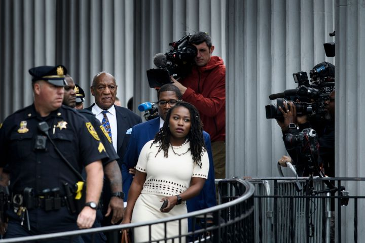 Bill Cosby leaves after the first day of sentencing hearing