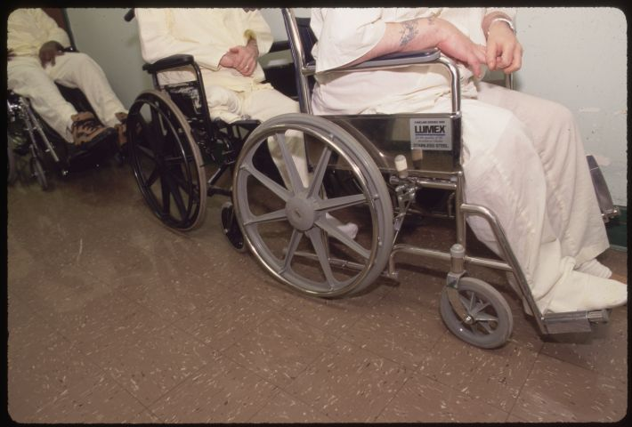 Older Prisoners in Wheelchairs at Laurel Highlands Prison
