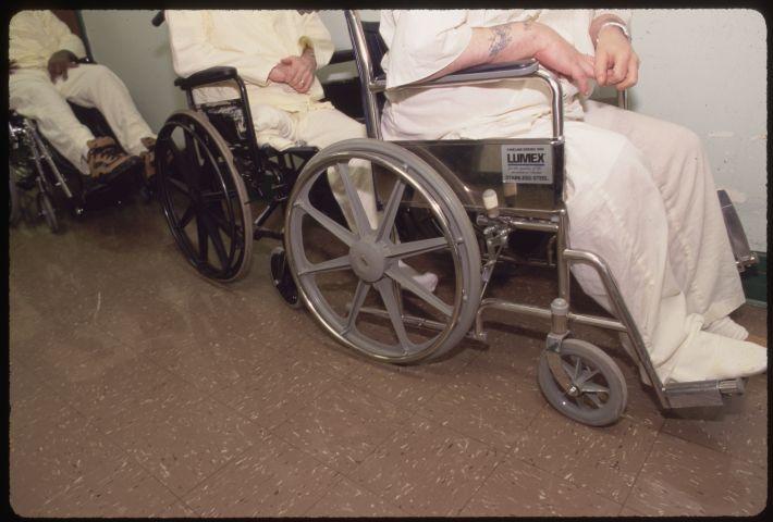Older Prisoners in Wheelchairs at Laurel Highlands Prison