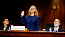 WASHINGTON, DC - SEPTEMBER 27: Christine Blasey Ford swears in