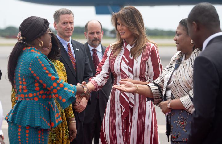 Melania Trump is greeted by Ghana officials