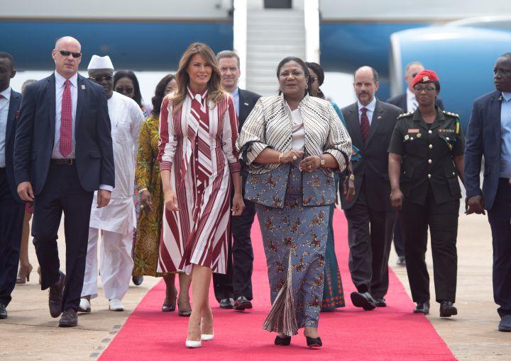 Melania Trump walks alongside Rebecca Akufo-Addo