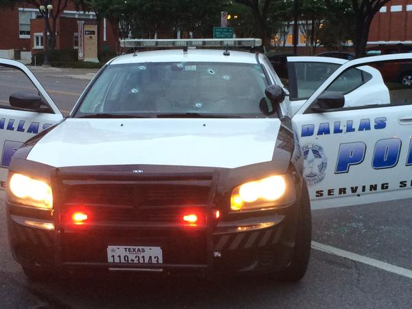 Dallas Police Headquarters Damaged by Gunfire from Shooter
