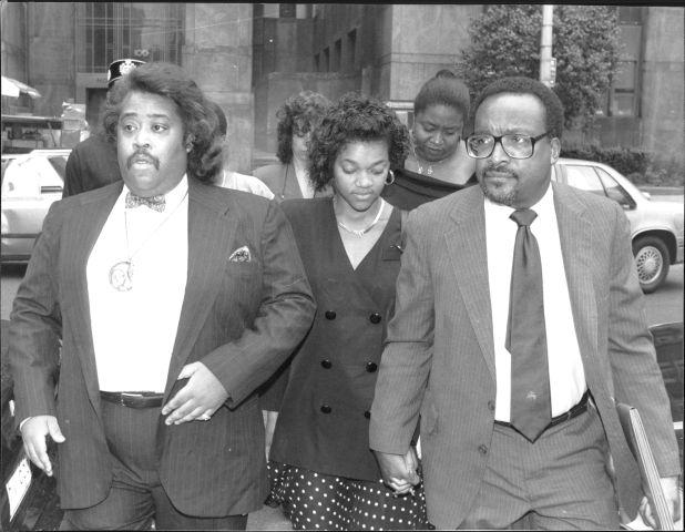 New York City's Central Park Jogger Trial (from left to right: Al Sharpton, Tawana Brawley & C. Vernon Mason)