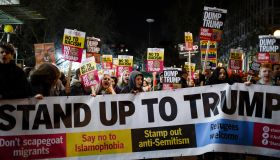 Demonstrators set off along North Audley Street following an...