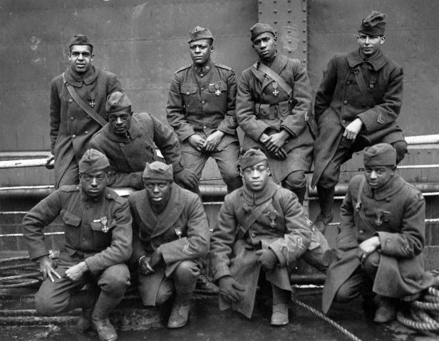 Soldiers of the 369th regiment of the American Army (Harlem Hellfighters) who won the Croix de Guerre for gallantry in action.